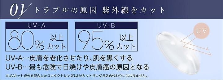 ピュアナチュラルPLUS 55%(ピュアナチュラルワンデーUVM)の特徴、UVカットが付きました