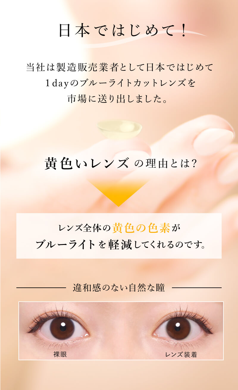 ワンデーリフレア BL UV モイスチャー55は日本で初めの1dayのブルーライトカットコンタクトレンズとして登場