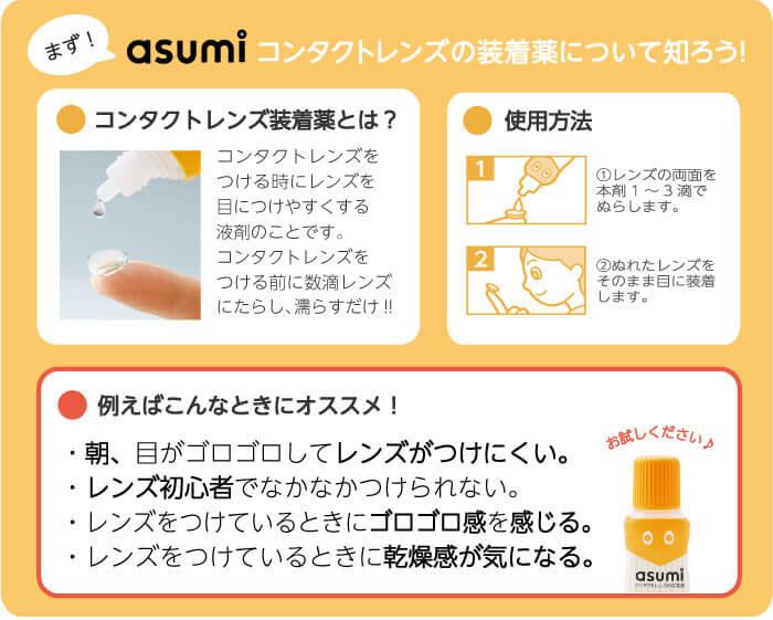 asumi(アスミ)コンタクトレンズの装着薬 15mL使用方法